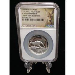 2015P Australia Kangaroo $1 NGC PF 70 Ultra Cameo High Relief One Of First 2500 Struck