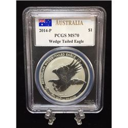 2014P Australia $1 Wedge-Tailed Eagle PCGS MS 70 Mercanti Signed