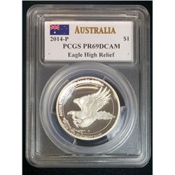 2014P Australia $1 Wedge-Tailed Eagle PCGS PR 69 DCAM High Relief Mercanti Signed