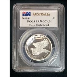 2015P Australia $1 Wedge-Tailed Eagle PCGS PR 70 DCAM High Relief Mercanti Signed