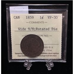 1859 Canada 1-Cent ICCS VF 30 Wide 9/8; Rotated Die XRE 783