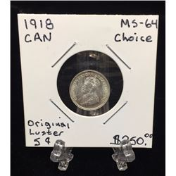 1918 Canada 5-Cents MS 64 Choice Original Luster