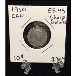 1910 Canada 10-Cents EF 45 Sharp Details