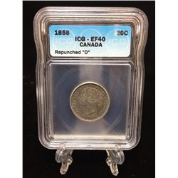 1858 Canada 20-Cents ICG EF 40 Repunched 'D'