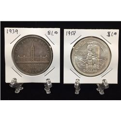 Lot of 2 - 1939 and 1958 Canada $1 Silver Dollars
