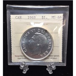 1949 Canada $1 Silver Dollar ICCS MS 66 MR 445