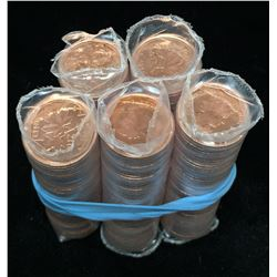Lot of 5 - 2012 Canada 1-Cent Non-Magnetic Rolls
