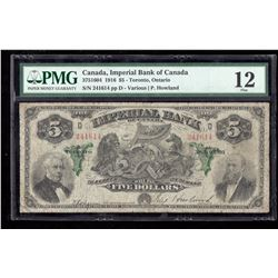 1916 $5 Canada, Imperial Bank of Canada PMG F 12