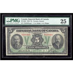 1923 $5 Canada, Imperial Bank of Canada PMG VF 25