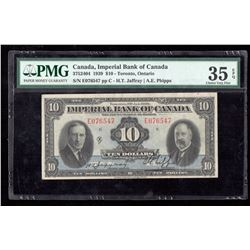 1939 $10 Canada, Imperial Bank of Canada PMG Choice VF 35