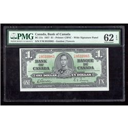 1937 $1 Canada, Bank of Canada PMG UNC 62