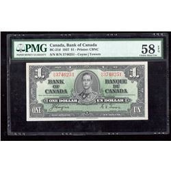 1937 $1 Canada, Bank of Canada PMG Choice About UNC 58