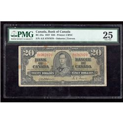 1937 $20 Canada, Bank of Canada PMG VF 25