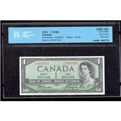 1954 $1 Canada, Bank of Canada UNC 60 Devil's Face