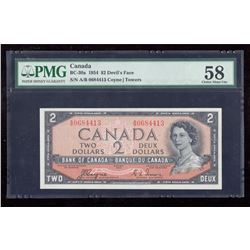 1954 $2 Canada, Bank of Canada PMG Choice About UNC 58 Devil's Face