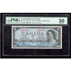1954 $5 Canada, Bank of Canada PMG VF 30 Devil's Face