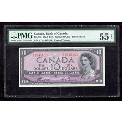 1954 $10 Canada, Bank of Canada PMG About UNC 55 Devil's Face