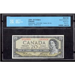 1954 $20 Canada, Bank of Canada CCCS AU 50 Devil's Face