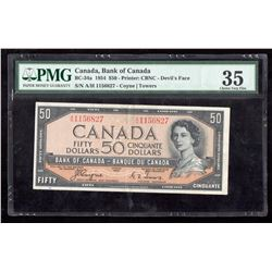 1954 $50 Canada, Bank of Canada PMG Choice VF 35 Devil's Face