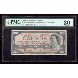 1954 $100 Canada, Bank of Canada PMG VF 30 Devil's Face