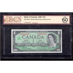 1967 $1 Canada, Bank of Canada BCS UNC 60 Replacement