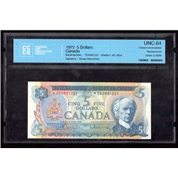1972 $5 Canada, Bank of Canada CCCS Choice UNC 64 Replacement