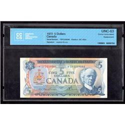 1972 $5 Canada, Bank of Canada CCCS Choice UNC 63 Replacement