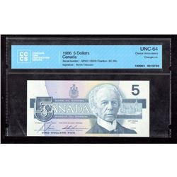 1986 $5 Canada, Bank of Canada CCCS Choice UNC 64