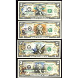 Lot of 4 US $2 National Parks Colorized Banknotes