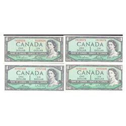 Lot of 4 1954 $1 Bank of Canada