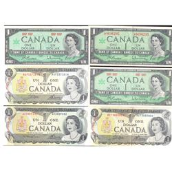 Lot of 12 Bank of Canada Banknotes 1954 $5, 1954 $2, 1967 $1, 1973 $1, 1974 $2, 1986 $2