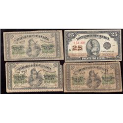 Lot of 4 Dominion of Canada 25-Cents Shinplaster (3) 1870 & (1) 1923 Notes