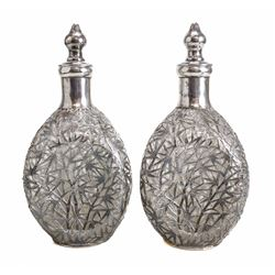 Pair of Chinese Silver Overlay Decanters