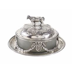English Sterling Covered Butter Dish, Martin Hill