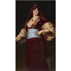 KPM Porcelain Plaque of a Gypsy with Tambourine