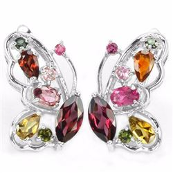 Natural Multi Color Tourmaline Butterfly Earrings