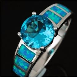 Natural Swiss Topaz and Opal Ring