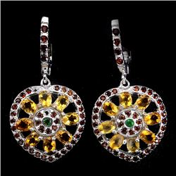 Natural Citrine Chrome Diopside Garnet Earrings