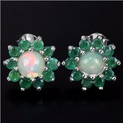 Natural Opal & Green Emerald Earrings