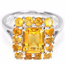 Natural Orange/Yellow Citrine Ring