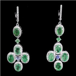 Natural Green Emerald Tanzanite Earrings