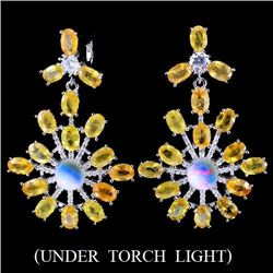 Natural Yellow Sapphire, Opal & Cz Earrings