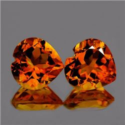Natural  Golden Orange Citrine Heart  Pair  10.00 MM