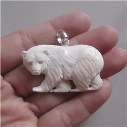 Hand Carved Bear Cub Pendant