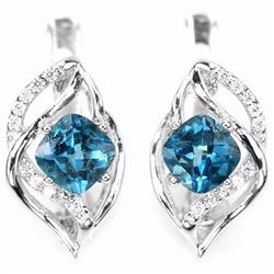 Natural Cushion London Blue Topaz Earrings