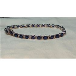 Natural Royal Blue Sapphire & Diamond Gold Bracelet