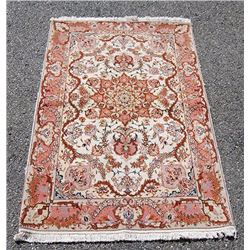 Fine Floral Handmade Silk Highlighted Persian Tabriz Rug