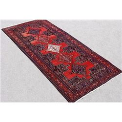 Hand Woven Mesmerizing Design Semi Antique Persian Senneh Runner