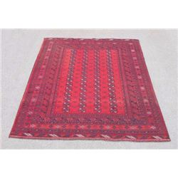Finely Knotted Delicate Semi Antique Turkmen Design Afghan Rug
