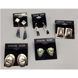 Group of 5 Pairs of Inlay Earrings